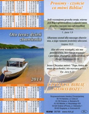 Calendar ~ Scripture Bookmark (Polish)
